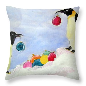 Throw Pillow featuring the painting Decorating Penguins by Patricia Piffath