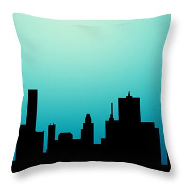 Throw Pillow featuring the painting Decorative Abstract Skyline Houston R1115a by Mas Art Studio