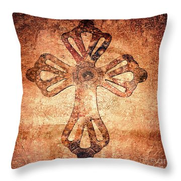 Throw Pillow featuring the painting Decorative Antique Cross A39816 by Mas Art Studio