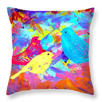 Throw Pillow featuring the painting Decorative Birds D132016 by Mas Art Studio