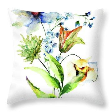 Decorative Flowers Throw Pillow