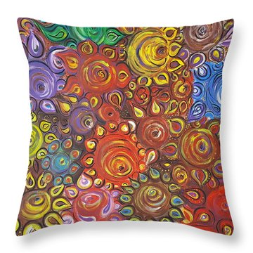 Decorative Flowers Throw Pillow