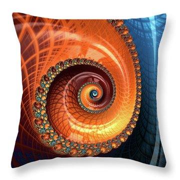 Throw Pillow featuring the digital art Decorative Fractal Spiral Orange Coral Blue by Matthias Hauser