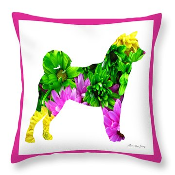 Throw Pillow featuring the painting Decorative Husky Abstract O1015d by Mas Art Studio