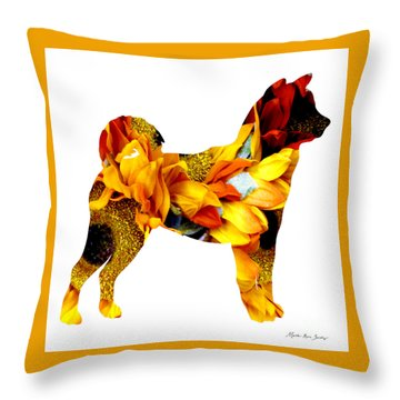 Throw Pillow featuring the painting Decorative Husky Abstract O1015g by Mas Art Studio