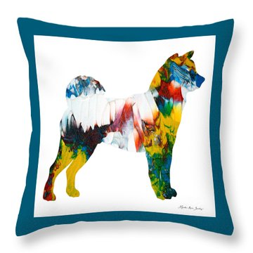 Throw Pillow featuring the painting Decorative Husky Abstract O1015m by Mas Art Studio