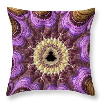 Throw Pillow featuring the photograph Decorative Luxe Mandelbrot Fractal Purple Gold by Matthias Hauser