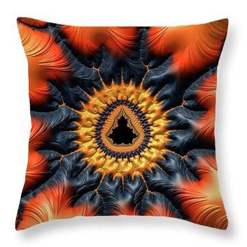 Throw Pillow featuring the digital art Decorative Mandelbrot Set Warm Tones by Matthias Hauser