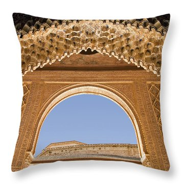 Decorative Moorish Architecture In The Nasrid Palaces At The Alhambra Granada Spain Throw Pillow by Mal Bray