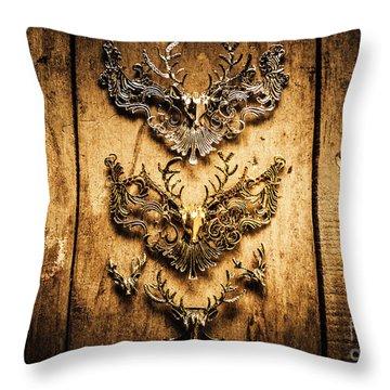 Decorative Moose Emblems Throw Pillow