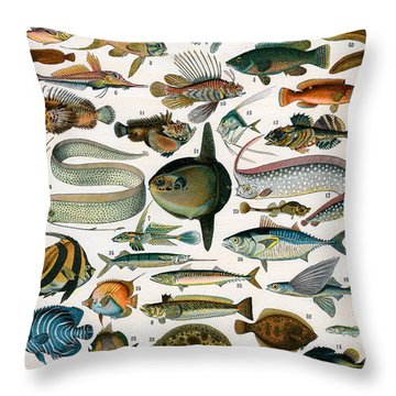 Decorative Print Of Poissons By Demoulin Throw Pillow
