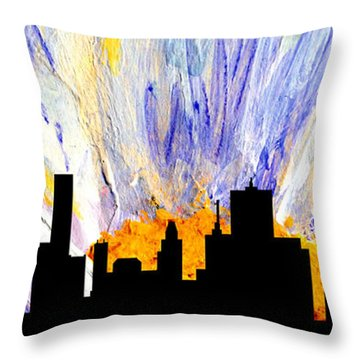 Throw Pillow featuring the painting Decorative Skyline Abstract  Houston T1115v1 by Mas Art Studio