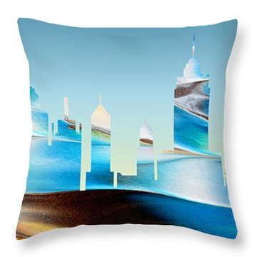 Decorative Skyline Abstract New York P1015b Throw Pillow
