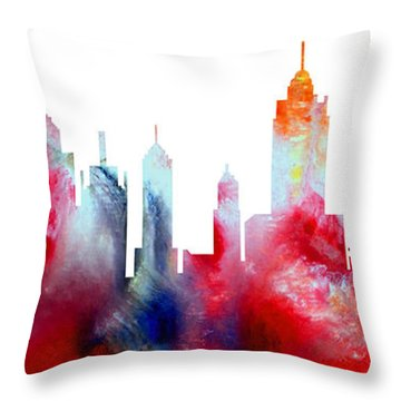 Decorative Skyline Abstract New York P1015c Throw Pillow