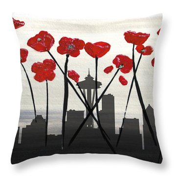 Throw Pillow featuring the painting Decorative Skyline Abstract  Seattle T1115x1 by Mas Art Studio