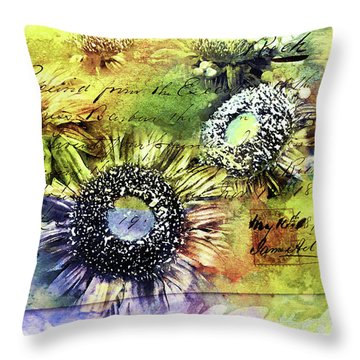 Throw Pillow featuring the painting Decorative Sunflowers Mixed Media A772016  by Mas Art Studio