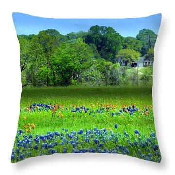 Decorative Texas Homestead Bluebonnets Meadow Mixed Media Photo H32517 Throw Pillow
