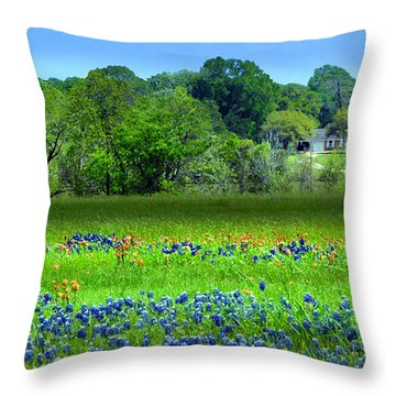 Decorative Texas Homestead Bluebonnets Meadow Mixed Media Photo H32517 Throw Pillow