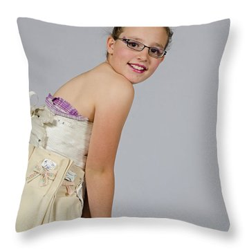 Deedee In A 1950s Style Dress Throw Pillow