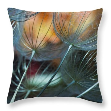 Deep Blue Dandelions Throw Pillow by Iris Greenwell
