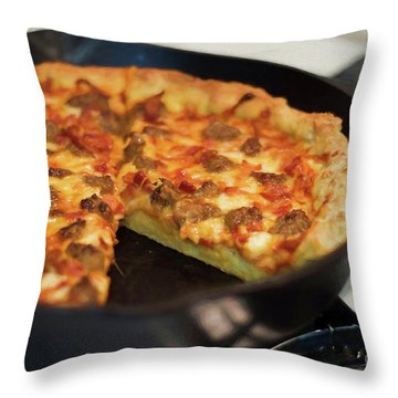 Throw Pillow featuring the photograph Deep Dish Pizza 004 by Andee Design