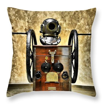 Deep Diver Equipment In Vintage Process Throw Pillow by Pedro Cardona Llambias