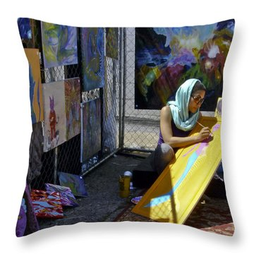 Deep Elum - Artist At Work  Throw Pillow