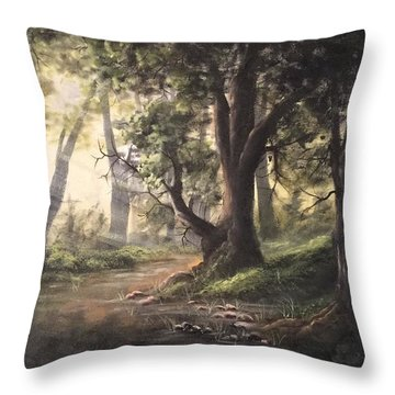 Deep Forest Rays  Throw Pillow