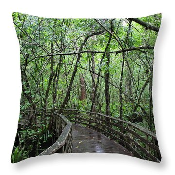 Throw Pillow featuring the photograph Deep In To The Swamp by Barbara Bowen