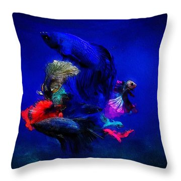 Throw Pillow featuring the painting Deep Oceans by Mark Taylor