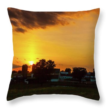 Deep Orange Farm Throw Pillow