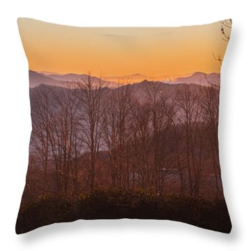 Deep Orange Sunrise Throw Pillow