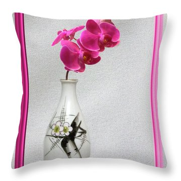 Throw Pillow featuring the photograph Deep Pink  Orchids by Linda Phelps