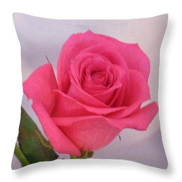 Single Deep Pink Rose Throw Pillow