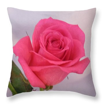 Single Deep Pink Rose Throw Pillow