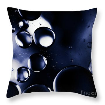 Throw Pillow featuring the photograph deep purple blue tones Macro Water Droplets by Sharon Mau