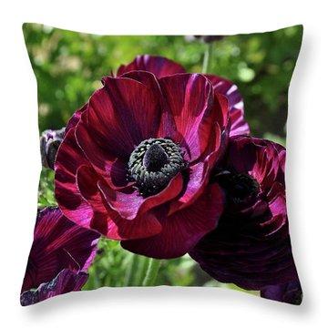 Deep Ranunculus Throw Pillow