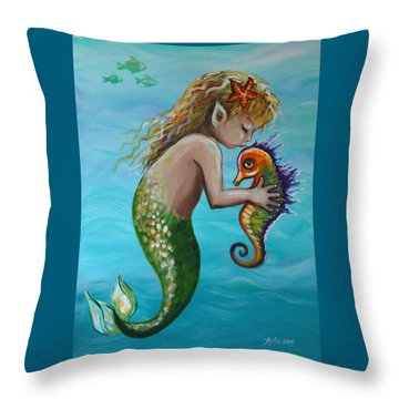 Throw Pillow featuring the painting Deep Sea Friends by Agata Lindquist