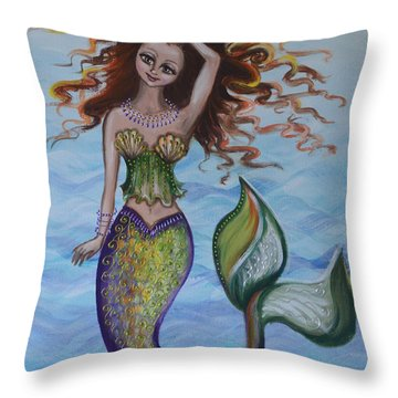 Throw Pillow featuring the painting Deep Sea Style by Agata Lindquist