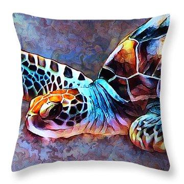 Deep Sea Trutle Throw Pillow