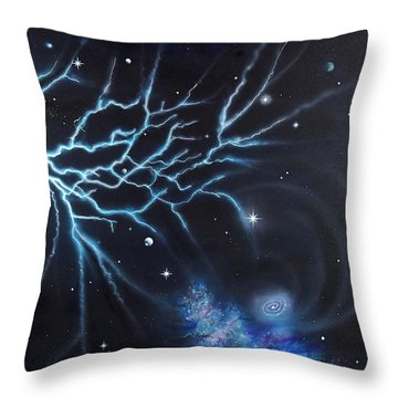 Throw Pillow featuring the painting Deep Space by Mary Scott