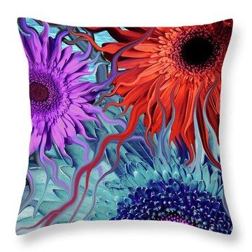 Deep Water Daisy Dance Throw Pillow
