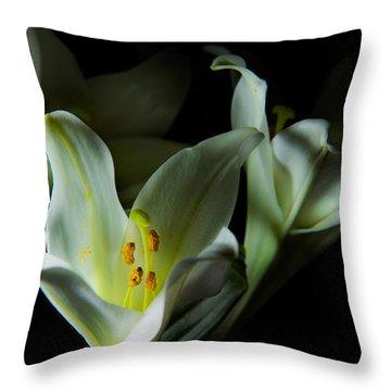 Deep White Lily Throw Pillow