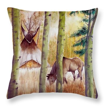 Deep Woods Camp Throw Pillow by Jimmy Smith