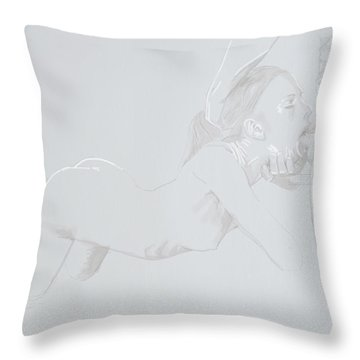 Throw Pillow featuring the mixed media Deepthroat by TortureLord Art