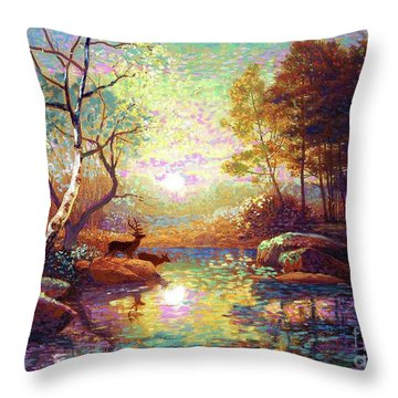 Deer And Dancing Shadows Throw Pillow