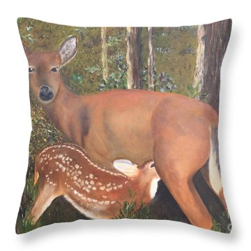 Throw Pillow featuring the painting Deer And Fawn by Peggy Borel