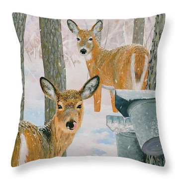 Deer And Sap Buckets Throw Pillow