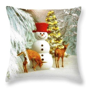 Deer And Snowman Throw Pillow