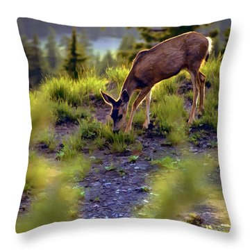 Deer At Crater Lake, Oregon Throw Pillow
